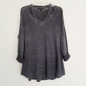 Acid washed thermal knit top